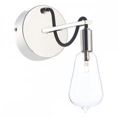Dar Lighting Scroll Single wall light in polished nickel finish with black braided cable and glass shade. Rustic Wall Lighting, Interior Wall Lights, Wall Sconce Lighting, Sconces, Lighting Bugs, Lounge Lighting, Dar Lighting, Lighting Direct, Wall Spotlights