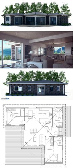 Small House Plan | I'm putting this on my Sims board instead of my Tiny House board, for...reasons.