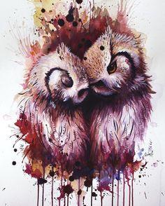 'Owls' cute watercolor work by Sunima @sunimo94 Norway. 'Совы' милая акварель в исполнении Sunima Норвегия.  #иллюстрация #живопись #искусство #графика #акварель #арт #выставки #art #illustration #pencil #artsy #drawing #draw #contemporaryart #watercolor #sketchbook #graphic #exhibitions #timetoart