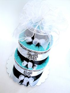 Towel Wedding Cake Centerpiece | Towel Cake - Tiffany Theme Wedding Towel Cake Shower Centerpiece ...