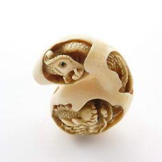 Mammoth Ivory Netsuke - Dragon & Phoenix in Bottle Gourd