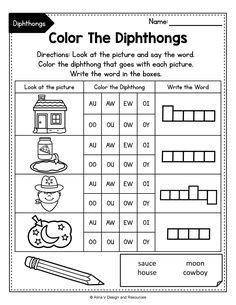 This set of diphthong printable worksheets, activities and games includes some fun reading, writing, tracing, coloring, teaching and finding diphthongs. Perfect English phonics activity for morning work, literacy tubs, homework and more. Teaching vowels to your 2nd grade students has never been easier. #diphthongsactivities #diphthongsworksheeets #diphthongteaching Phonics Rules, Phonics Worksheets, Printable Worksheets, 2nd Grade Activities, Phonics Activities, French Language Learning, Spanish Language, Learning Spanish, Writing Resources
