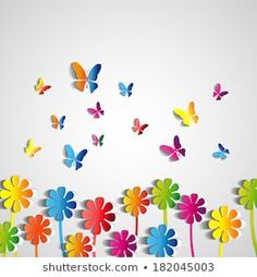 Find Abstract Paper Flowers Background Paper Butterflies stock images in HD and millions of other royalty-free stock photos, illustrations and vectors in the Shutterstock collection. Thousands of new, high-quality pictures added every day. Decoration Creche, Class Decoration, School Decorations, Flowers Background, Paper Background, Diy And Crafts, Crafts For Kids, Arts And Crafts, Paper Butterflies