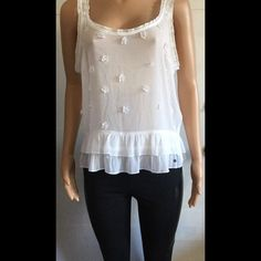 Abercrombie and Fitch sheer tank/crop top Super cute crop top very figure flattering top. Arm pit to arm pit measures 21 inches. Neck to bottom measures 16 inches. This top does stretch. In good condition. Abercrombie & Fitch Tops Crop Tops