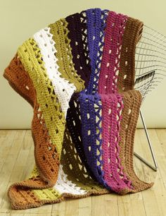 Free Crochet pattern~ Lacy Strips Throw (Level:Easy)
