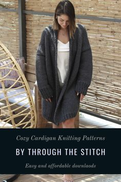 This basic coat knitting pattern features a relaxed, amazingly cozy coat. It can be paired with everything, from tailored to casual pieces, from tight to oversized clothes. #cardiganpattern #knitcardigan #knitpatterncardigan #chunkycardigan #throughthestitch #knittingpatterns #cardigan Knit Cardigan Pattern, Chunky Cardigan, Easy Knitting Patterns, Oversized Coat, Cold Day, Cozy, Stitch, Casual, Sweaters