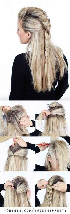 Trenza mohawk: Long Hairstyle, Easy Hairstyles For Long Hair, Diy Hair Updos, Five Minute Hairstyles, Night Hairstyles, Natural Braided Hairstyles, Hairstyles 2018, Trending Hairstyles, Sleek Hairstyles