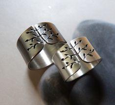 Spring tree ring, silver wedding ring set, wide band ring, metalwork jewelry, statement ring