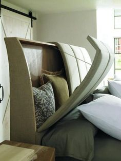 Headboard Storage Idea for Small Spaces - LOVE THIS!!! Very smart