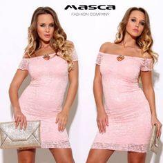 Masca Fashion vállra húzós nyakú, ékszercsatos dekoltázsú alábélelt rózsaszín rövid ujjú alkalmi csipkeruha Bodycon Dress, Dresses, Fashion, Vestidos, Moda, Body Con, Fashion Styles, Dress, Fashion Illustrations