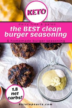 Here is the secret to THE BEST keto homemade hamburger! It is all in the seasoning and shaping of the patty! I'm going to share my secret to making THE BEST low carb burger seasoning that's clean, super easy, and above all delicious! It is sure to become a family favorite! #keto #lowcarb #burger #hamburger #seasoning #homemade #burgerseasoning #recipes Best Burger Seasoning, Hamburger Seasoning, Seasoning Mixes, Best Homemade Burgers, Homemade Hamburgers, Low Carb Burger, Good Burger, Dairy Free Recipes, Low Carb Recipes