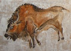 SPAIN Cropped bison painting from a photograph of the polychrome rock paintings at the Altamira Cave in Western Spain. About 15000 years old this painting was created with a sophisticated airbrush technique. Chauvet Cave, Lascaux Cave Paintings, Religions Du Monde, Prehistoric Animals, Prehistoric Age, Paleolithic Art, Stone Age Art, Cave Drawings, Art Ancien