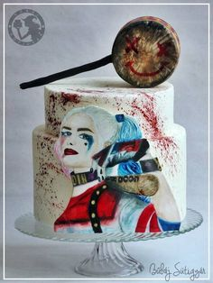 Harley quinn cake!  hand painted cake, fondantcake, suicide squad cake, watercolor cake, joker and harley cake.