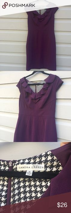 Plum Colored Fall Dress Pinup perfect. Size 10 classic dress in eggplant color, with cute details. Lined, back zipper, little cap sleeve. There are some small deodorant discolorations under arm but mostly just on inside, I've included a close up picture. Sandra Darren Dresses Midi