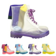 WOMENS LADIES FLAT LACE UP CLEAR FESTIVAL JELLY WELLIES LOW ANKLE RAIN BOOTS SHOES SIZE (UK 4 / EU 37 / US 6, Violet Purple / See Through): Amazon.co.uk: Shoes & Bags