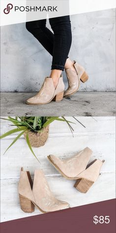 Western-inspired ankle boots. Ankle boots with a western-inspired design, etched metal heel and toe caps, and sculptural V-cut sides. Available in NUDE color. Shoes Ankle Boots & Booties