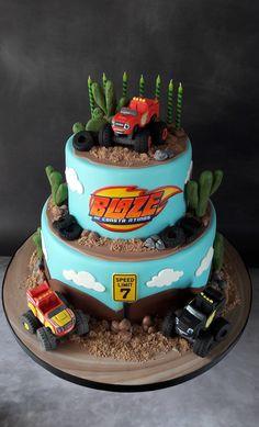 blaze cakes for boys Torta Blaze, Bolo Blaze, Blaze Cakes, Blaze Birthday Cake, Truck Birthday Cakes, Boy Birthday Parties, 3rd Birthday, Birthday Ideas, Blaze And The Monster Machines Cake