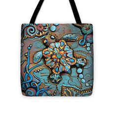 Tranquil Tortoise Tote with Polymer Clay Beaded Tote Charm, Beach Bag, Utility Bag, Carry-all