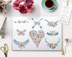 Vector Flower Heart Arrows Antlers by By Lef on @creativemarket