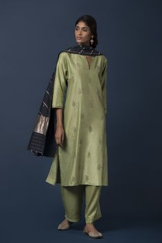 simple pista green silk kurta suit