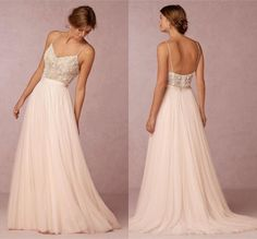 Simple Style Blush Pink Beaded Spaghetti A Line Wedding Dresses 2016 Sexy Open Back Floor Length Tulle Bride Wedding Gowns High Quality Online with $160.81/Piece on Dmronline's Store | DHgate.com