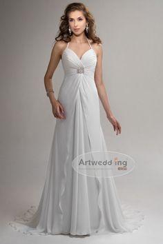 Long Halter A Line Chiffon Gown with Beaded and Applique Details