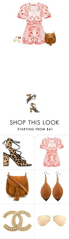 """""""How to Style a Coral Printed Romper with Leopard Sandals"""" by outfitsfortravel ❤ liked on Polyvore featuring Yves Saint Laurent, Alice McCall, Chloé, Chanel, Ray-Ban and Michael Aram"""