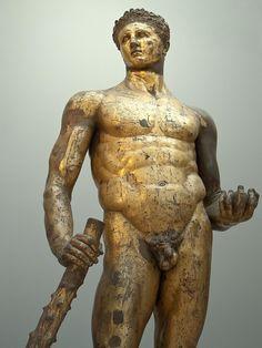 Gilded Bronze statue of a beardless Hercules