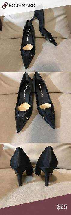 "Nina Black Satin Formal Pumps Black satin pumps with a pointy toe with two front cutouts and embellished with black stones. There is an insert in each shoe for comfort but they can be removed. 3"" kitten heel. Nina Shoes Heels"