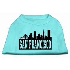 Mirage cat Products 8-Inch San Francisco Skyline Screen Print Shirt for cats, X-Small, Aqua -- Awesome cat product. Click the image : Cat Apparel