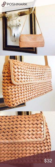 HOBO INTL WOVEN LEATHER SHOULDER BAG CLUTCH This is THE Boho Chic Bag. Soft, Supple Leather. Luxurious Movement, Texture, & Feel. Sandy, Neutral Nude. Great Oversized Clutch. Natural & Earthy with Sophisticated Vibes.  Magnetic snap. Two small interior po