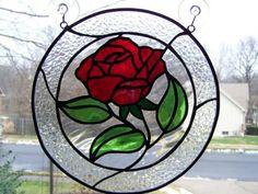 Stained glass rose for Grandma Geri