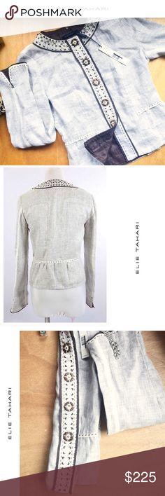 "NEW ᴇʟɪᴇ ᴛᴀʜᴀʀɪ ᴅᴀɴᴄɪᴀ ʙᴇɪᴇɢᴇ ʟɪɴᴇɴ ʙᴀᴍʙᴏᴏ ᴊᴀᴄᴋᴇᴛ• NEW • \\Elie Tahari// Dancia linen bamboo jacket :: cotton + ivory linen ::: Brown linen lining ::: Embroidery ::: Originally [$448] ::: Brand new with original tags :: Never worn :: Size [XS] ::: Approximate measurements::: Bust [34""] // Arm•length [25""] shoulder to shoulder ::: Length [22.5""] Elie Tahari Jackets & Coats Blazers"
