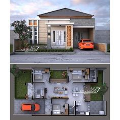 Image may contain: outdoor Bungalow Haus Design, Duplex House Design, Small House Design, Home Design Floor Plans, Home Building Design, Building A House, House Layout Plans, House Layouts, Style At Home