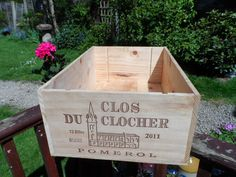 Large (12 full bottles size) Traditional French Wooden wine box Very clean condition Clos Du Clocher Pomerol by VintageFoggy on Etsy