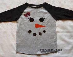 Snowman Raglan Shirt Toddler Girl - Baby Girl Snowman Bodysuit Raglan - Christmas Snowman tshirt - Kids Christmas t shirt - Snowman Face Tee