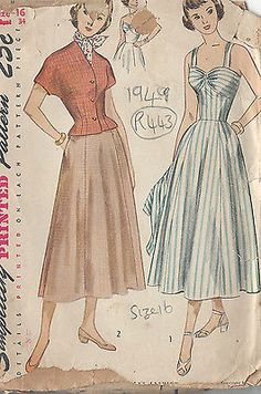 "1949 Vintage Sewing Pattern B34"" DRESS & JACKET (R443)"