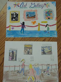 """""""A trip to the museum"""" using fine art stamps. Could do this with tiny original kid art maybe take photos fo their art and print it out. Art History Lessons, Art Education Lessons, Kindergarten Art Lessons, Art Lessons Elementary, 2nd Grade Art, Classroom Art Projects, Drawing Projects, Art For Kids, Kid Art"""
