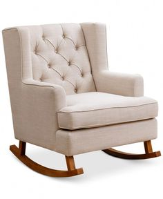 Abbyson Thatcher Fabric Rocker Chair for sale online Upholstered Rocking Chairs, Eames Rocking Chair, Rocking Chair Nursery, Nursery Rocker, Rockers For Nursery, Girl Nursery, Beige Nursery, Nursery Room, Nursery Ideas