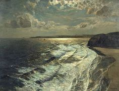 poboh:  Moonlit Shore, 1911, Albert Julius Olsson. English (1864 ‑ 1942)