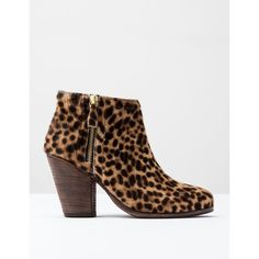 Boden Zip Low Heel Boot (260 CAD) ❤ liked on Polyvore featuring shoes, boots, ankle booties, tan leopard pony, bootie boots, short boots, low heel booties, short heel booties and zipper bootie