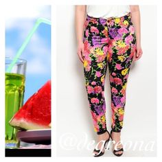Color POP ! Floral Pants •In Next Wednesday• Trend set in these pants that features a mid rise waist, button closure with zip fly and bright floral print all over. Pants