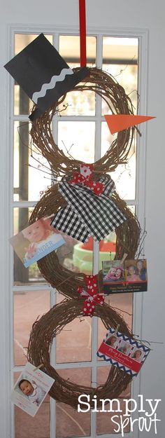 I love the winter theme of this snowman card holder. I always enjoy leaving the Christmas cards up through the winter. Simply Sprout: Month of Joy: Christmas Card Geography Winter Christmas, All Things Christmas, Christmas Holidays, Christmas Wreaths, Christmas Decorations, Christmas Snowman, Grapevine Christmas, Office Christmas, Grapevine Wreath