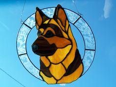 Items similar to German Shepherd stained glass on Etsy Stained Glass Suncatchers, Faux Stained Glass, Stained Glass Designs, Stained Glass Panels, Stained Glass Projects, Stained Glass Patterns, Mosaic Art, Mosaic Glass, Tiffany Kunst