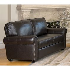 Abbyson Living London Dark Brown Leather Loveseat Item #: 15337980  $719.99 shipping included