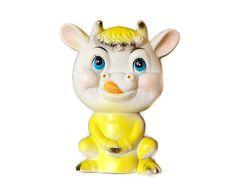 Cow Squeak Toy Rubber Yellow Anthropomorphic Kitsch by SeeDollyRun, $15.95
