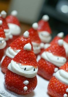 Strawberry Santas. Sweet and delicious Christmas treats in the guise of everyone's favorite Christmas gift giver when the Christmas season is around. Serve these wonderful looking treats on your Christmas get together.