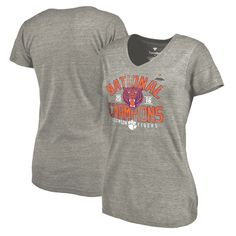 Clemson Tigers Fanatics Branded Women's College Football Playoff 2016 National Champions Screen Pass Tri-Blend V-Neck T-Shirt - Heathered Gray - $29.99