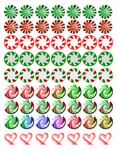 """Peppermint Candies Bottle cap images, high resolution formatted for printing on 8.5"""" x 11"""" page"""