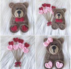 Watch This Video Incredible Crochet a Bear Ideas. Cutest Crochet a Bear Ideas. Crochet Applique Patterns Free, Crochet Motif, Crochet Flowers, Free Crochet, Crochet Bear, Crochet Dolls, Crochet Crafts, Crochet Projects, Valentines Day Baby